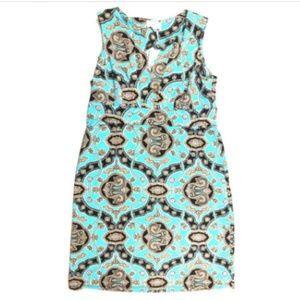 Jude Connally M Blue Brown Short Shift Dress Print